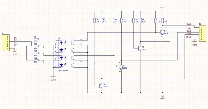 4′lü opto izolatör kartı devre şeması