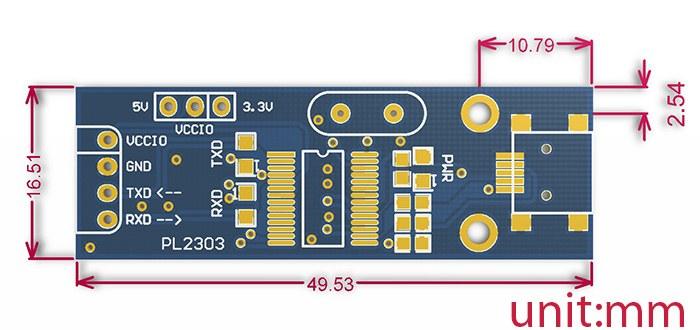 pl2303 usb uart dönüştürücü kartı boyutları