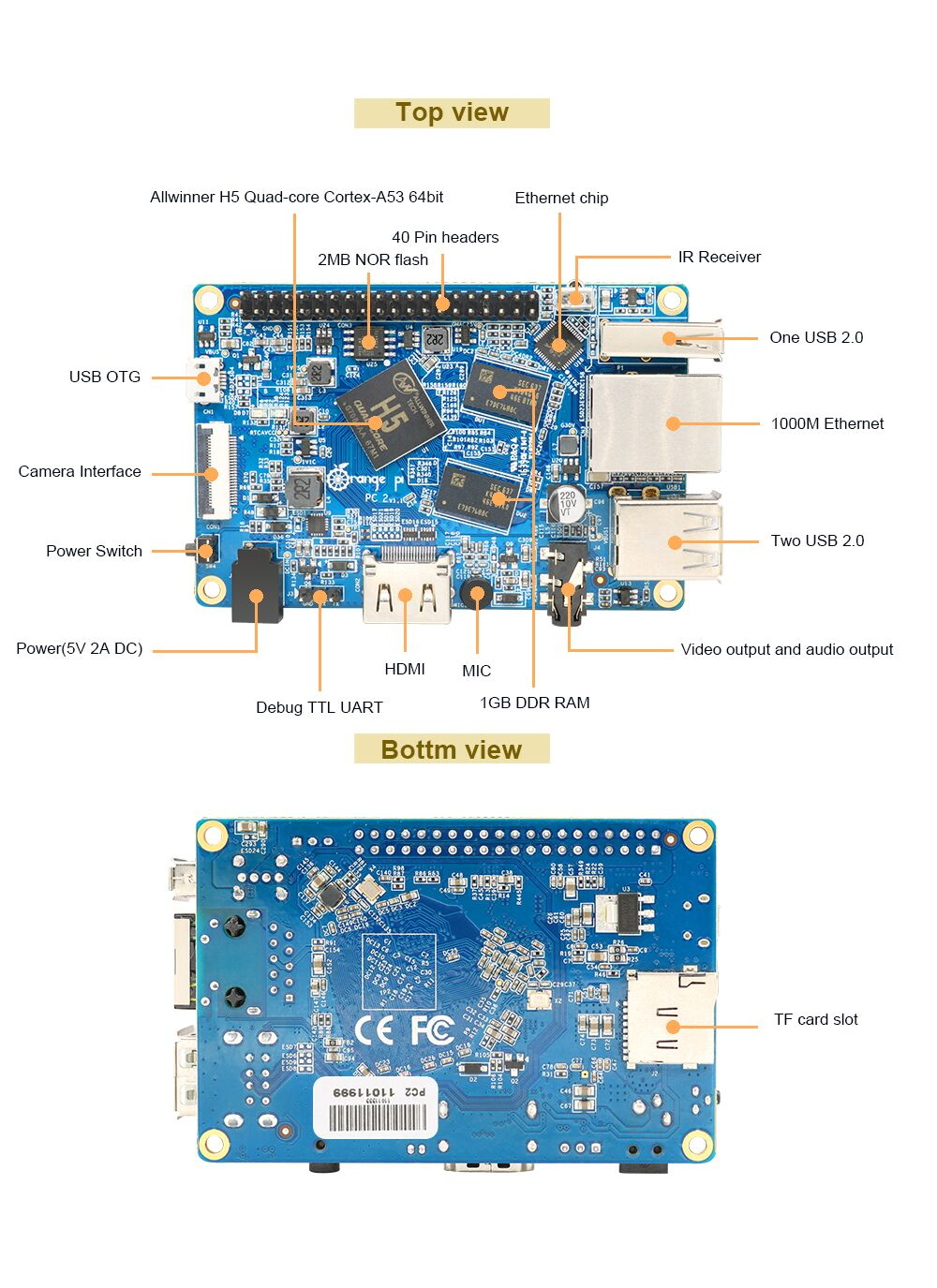 Orange Pi PC2 Bileşenler