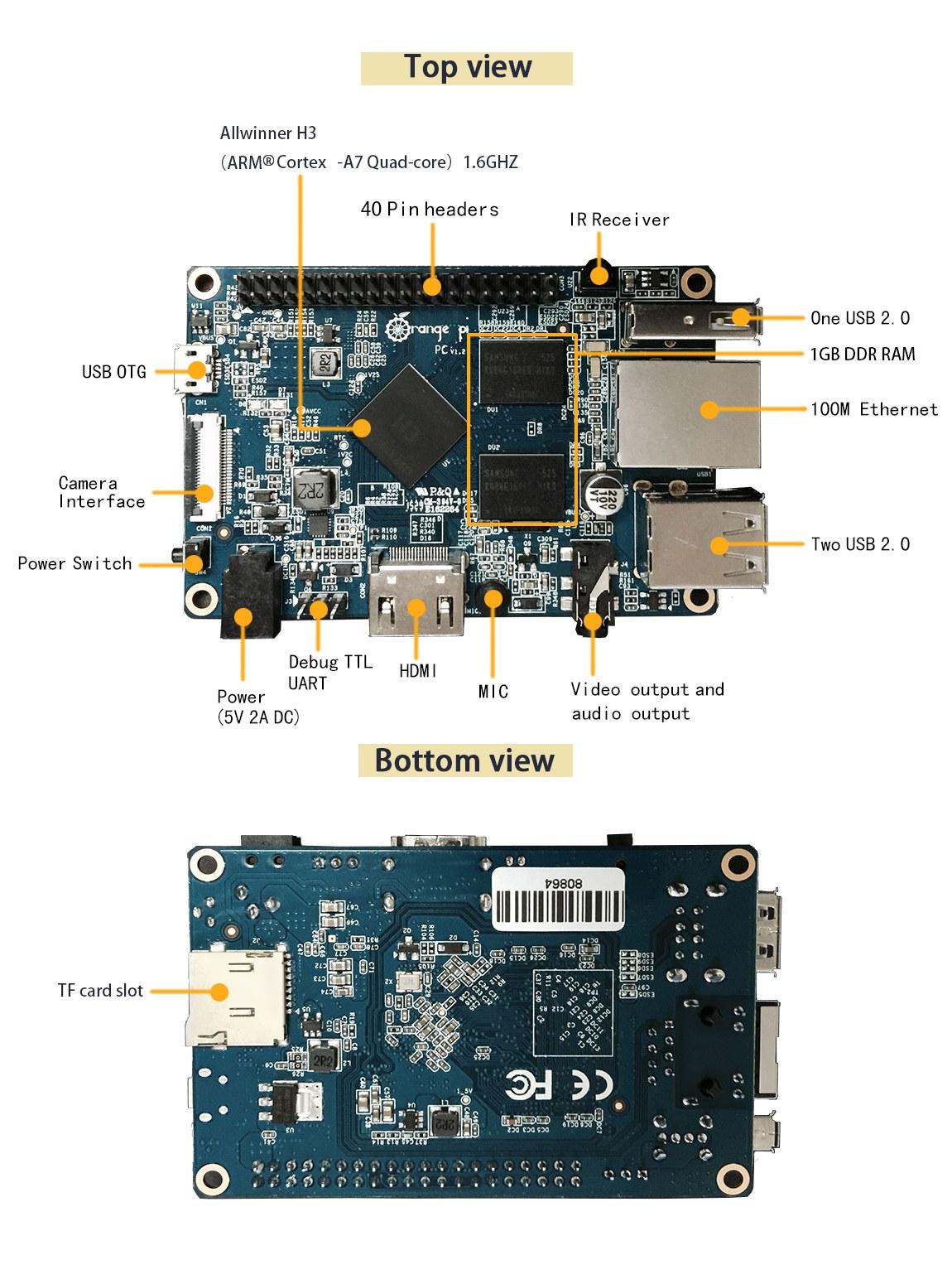 Orange Pi PC Bileşenler