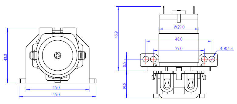 makeblock mikro peristaltik pompa - dc 12.0 v boyutları