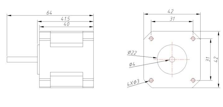 42BYG step motor boyutları