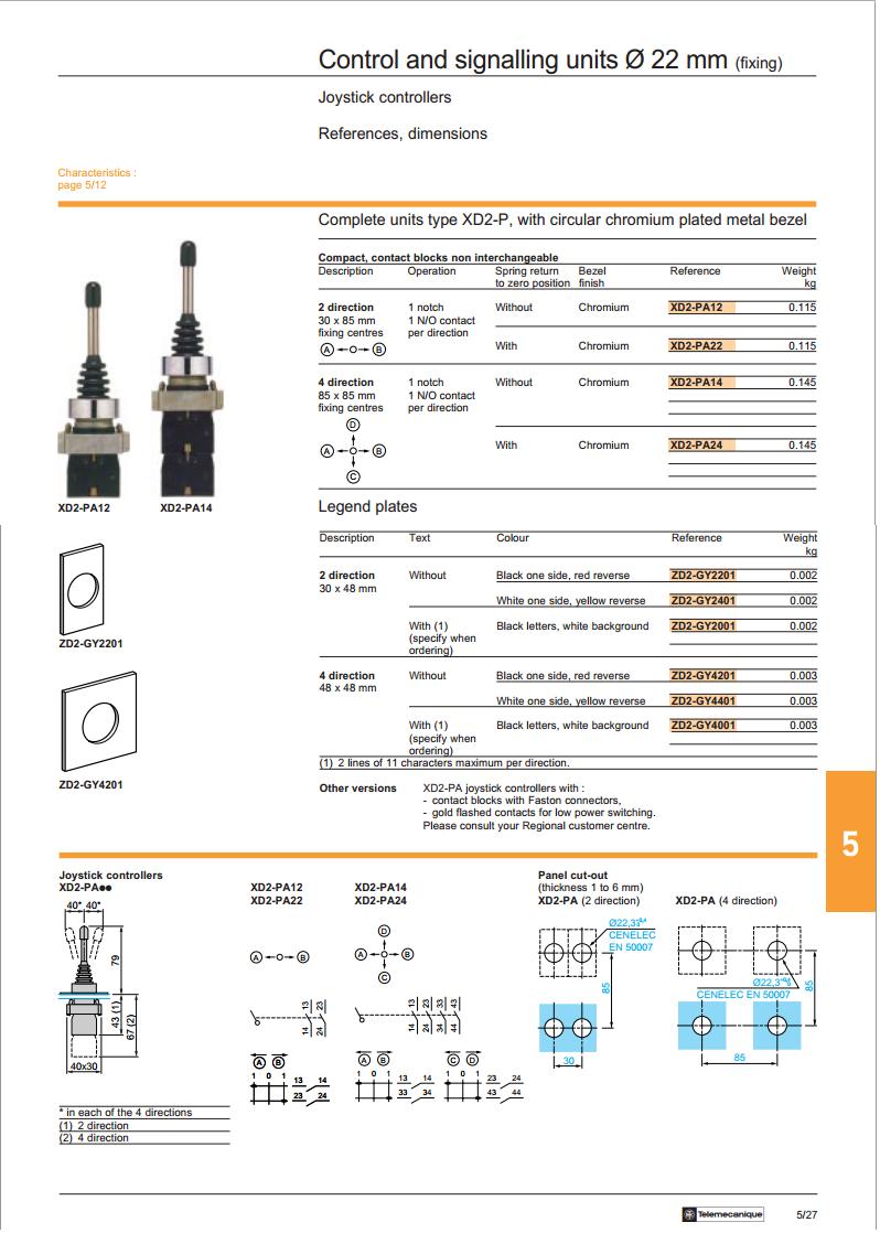 xd2pa24 4 pozisyonlu endüstriyel joystick çarpraz anahtarı kullanım kılavuzu