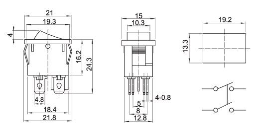 IC122 4 Uçlu Küçük Anahtar boyutları