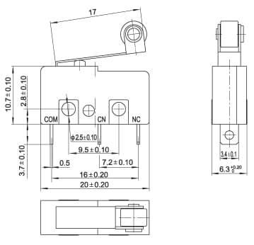 Micro Switch with Pulley dimensions