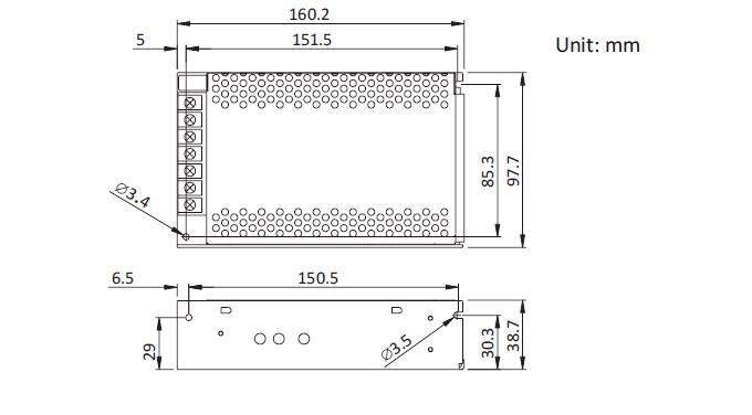 12V 10A adaptör boyutları