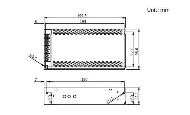 12V 16A adaptör boyutları