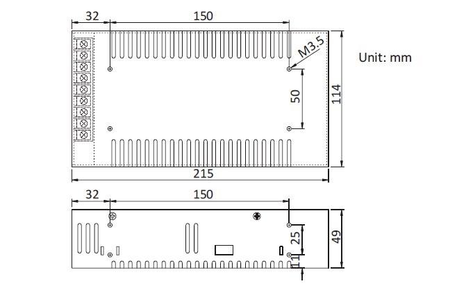 12V 30A adaptör boyutları