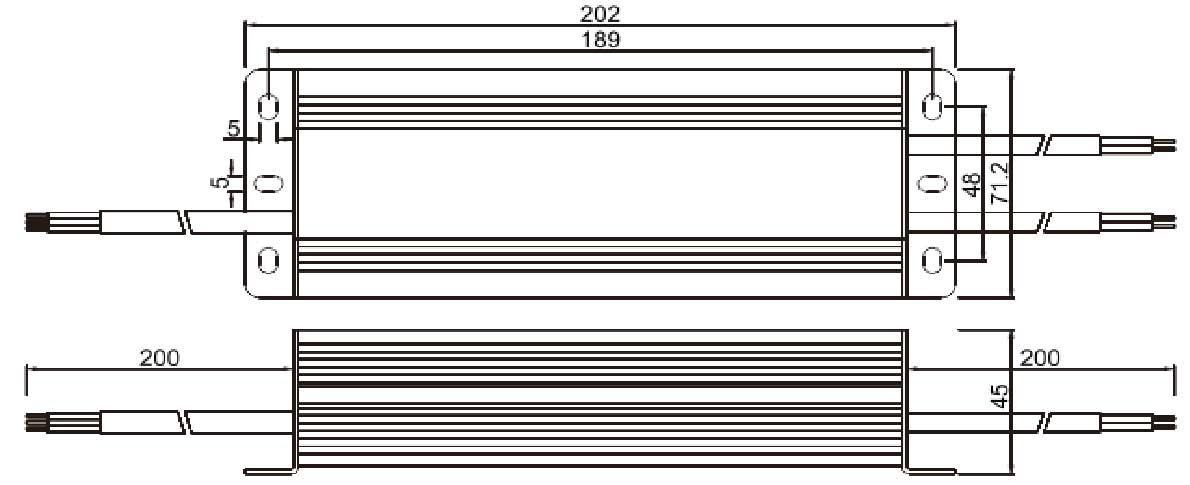 12v 8.33A güç kaynağı boyutları