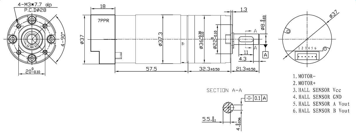 12V 36mm 220RPM Enkoderli DC Motor Teknik Çizim