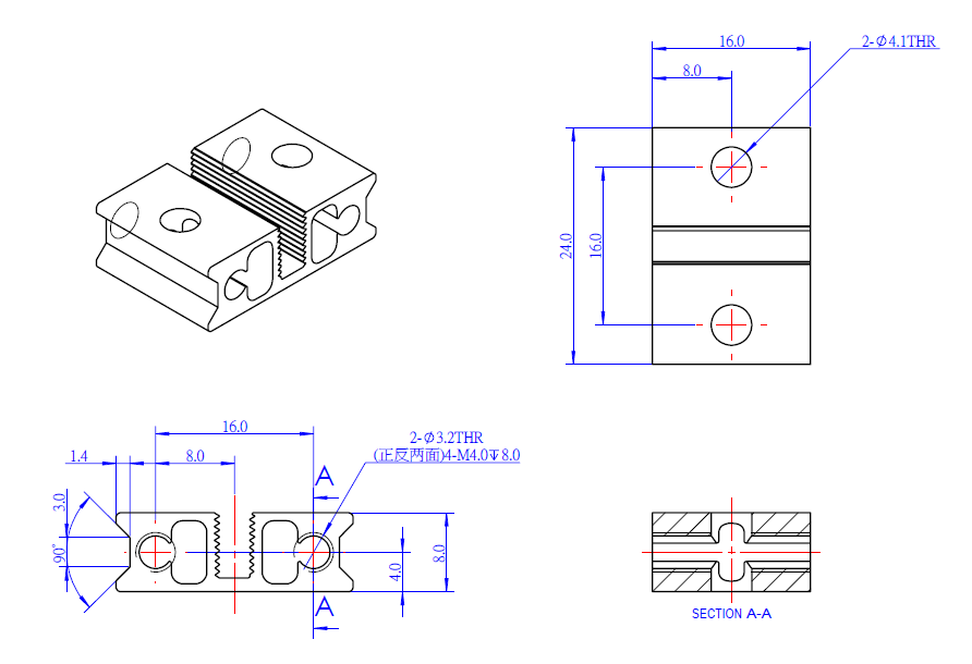 Makeblock 0824-016 slide beam dimensions