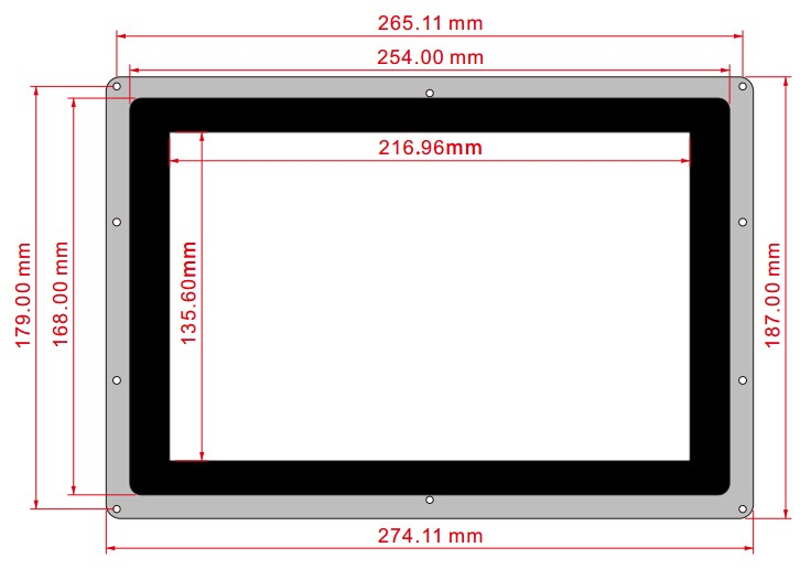 10.1 inç HDMI Kapasitif Ekran Boyutları