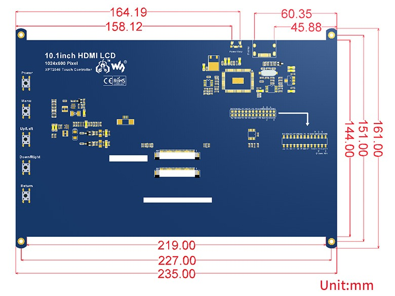 10.1 inç HDMI Rezistif Ekran Boyutları