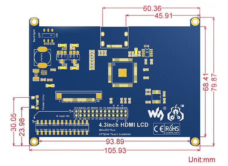 4.3 inç HDMI Rezistif Ekran Boyutları
