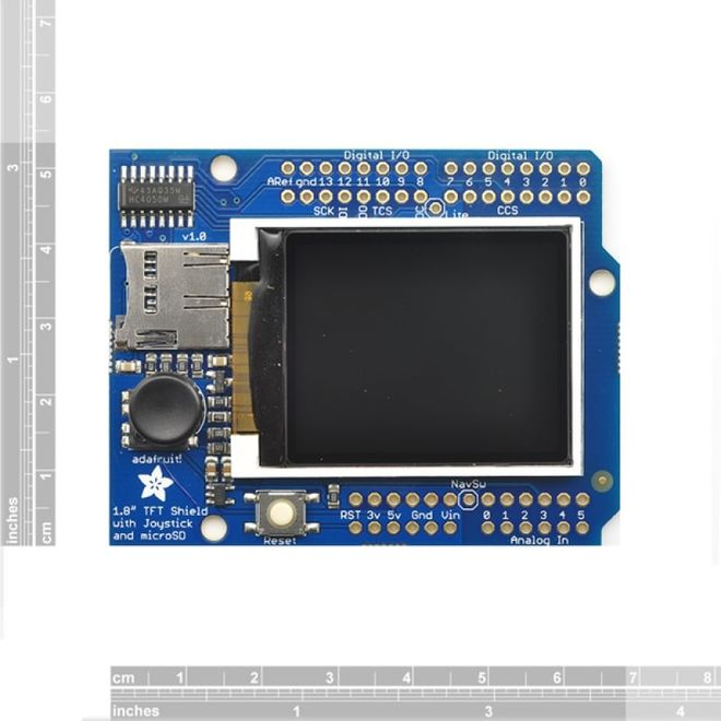 Adafruit 1.8 Inch Renkli TFT Shield mikroSD ve Joystick'li