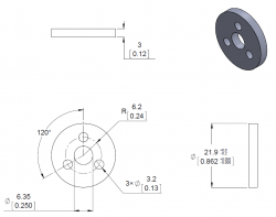 Aluminum Scooter Wheel Adapter for 5mm Shaft - PL2673 - Thumbnail