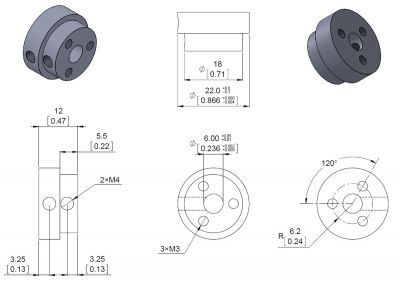 Aluminum Scooter Wheel Adapter for 6mm Shaft - PL2674