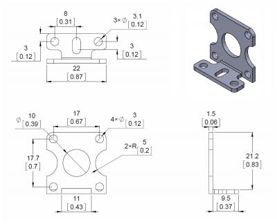 Aluminyum L tipi Plastik Redüktörlü Motor Tutucu (İkili) -PL2670