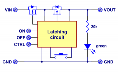 Big Pushbutton Power Switch with Reverse Voltage Protection (Middle Power)