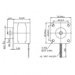 Bipolar NEMA 14 200 Step 35x26mm 7.4V Step Motor - Thumbnail