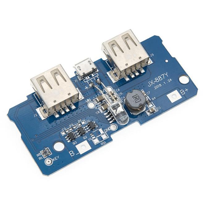 Çift USB Çıkışlı Power Bank Kartı - Pil Seviye Göstergeli (2.1A ve 1A Çıkışlı)