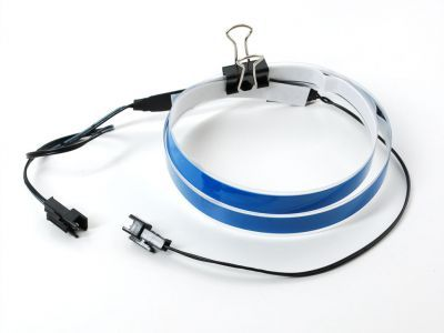 EL Wire Şerit Bant - Mavi, 1 m, Çift Konektör - AF447