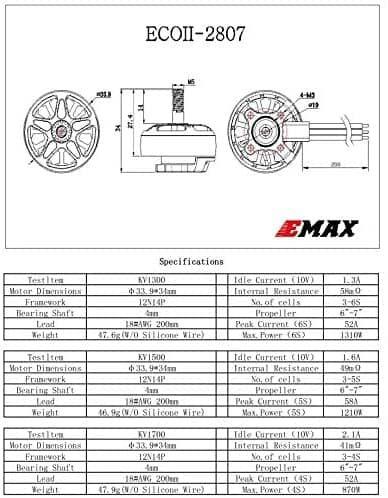 Emax ECO II 2807 5S 1500KV Fırçasız Motor (FPV Racing RC Drone için Kullanılabilir)