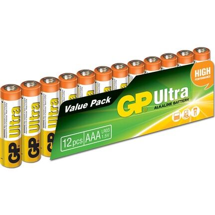 GP Ultra 1.5 V AAA İnce Kalem Pil - 12'li (Kumanda Pili)