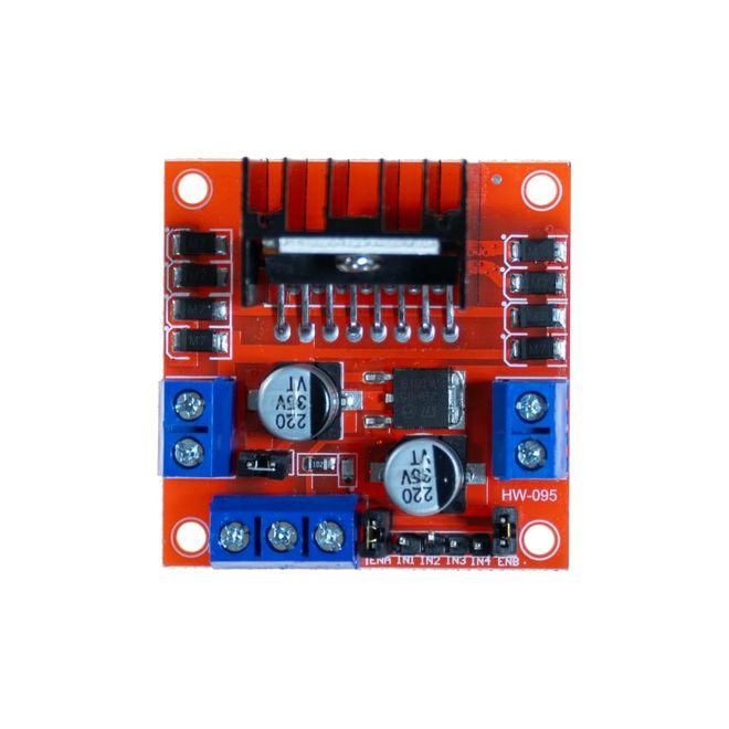 L298N Voltaj Regulatörlü Çift Motor Sürücü Kartı(Kırmızı PCB)