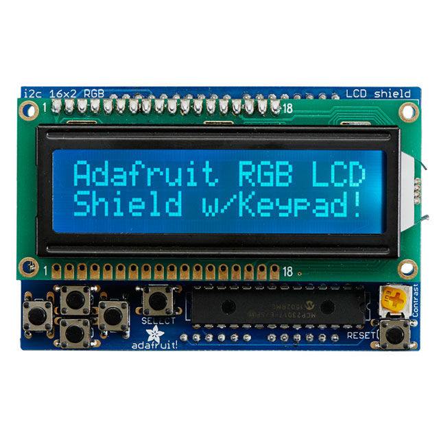 LCD Shield Kit w/ 16x2 Character Display (Blue - White)