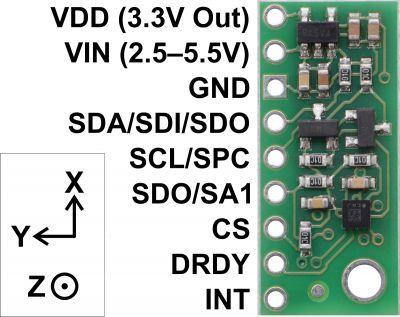 LIS3MDL 3-Axis Magnetometer Carrier with Voltage Regulator - PL2737
