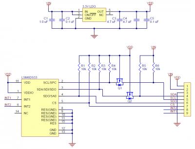 LSM6DS33 Regülatörlü İvme Ölçer, Gyro - PL2736