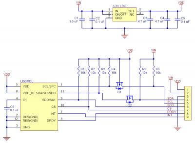 LIS3MDL 3 Eksen Regülatörlü Pusula - PL2737