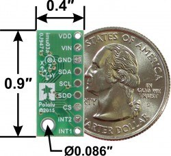 LSM6DS33 3D Accelerometer and Gyro Carrier with Voltage Regulator - PL2736 - Thumbnail