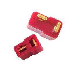 Mini T Plug Batarya Konnectörü Kırmızı (Erkek-Dişi Set) - Thumbnail