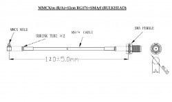 MMCX-SMA RF KABLO - RF Interface Kablosu - Thumbnail