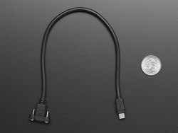 Panel Mount Extension USB Cable - Micro B Male to Micro B Female - Thumbnail