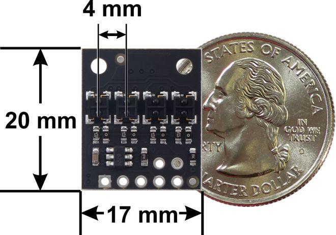 QTRX-HD-04A 4'lü Çizgi Algılama Sensörü (Sık Sensör Dizilimli)