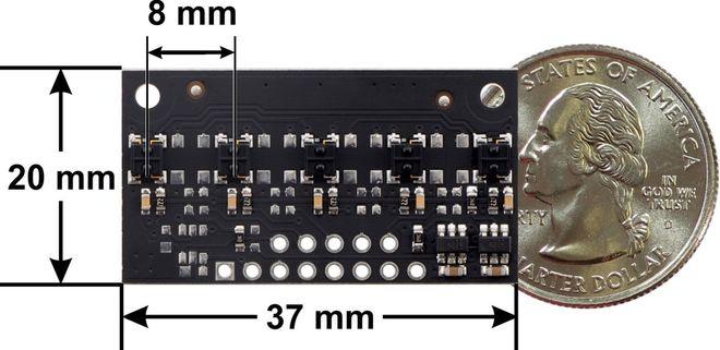 QTRX-MD-05RC 5'li Çizgi Algılama Sensörü (Seyrek Sensör Dizilimli)