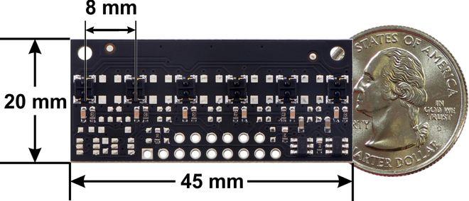 QTRX-MD-06RC 6'lı Çizgi Algılama Sensörü (Seyrek Sensör Dizilimli)