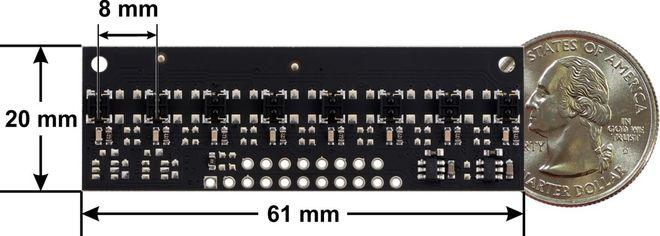QTRX-MD-08RC 8'li Çizgi Algılama Sensörü (Seyrek Sensör Dizilimli)