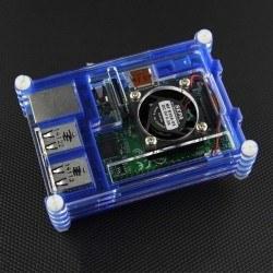 Raspberry Pi B+/2/3 Mavi + Şeffaf Pleksi Katmanlı, Fan Uyumlu Case - Thumbnail