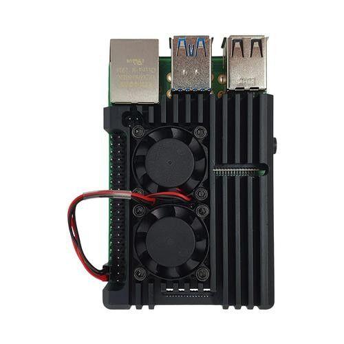 Raspberry Pi 4 Alüminyum Çift Fanlı Muhafaza Kutusu - Siyah