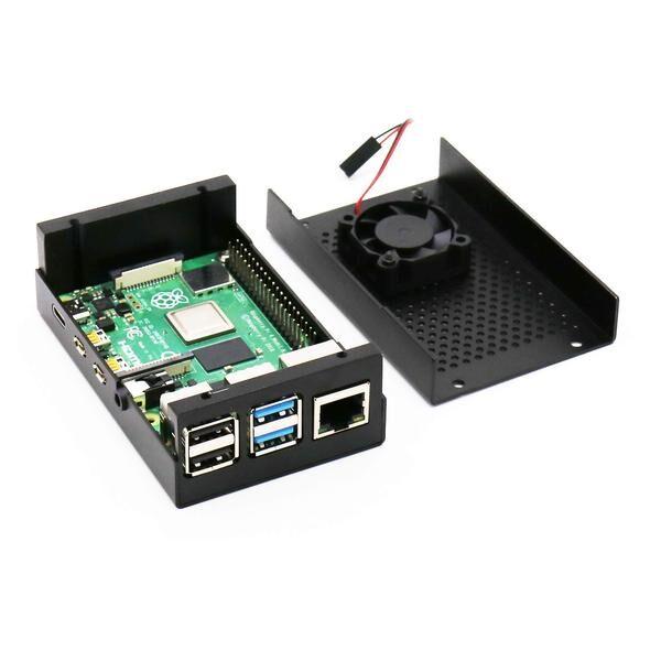 Raspberry Pi 4 Alüminyum Muhafaza Kutusu (Fanlı)