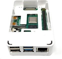 Raspberry Pi 4 Plastik Muhafaza Kutusu - Beyaz (Raspberry Pi Logolu) - Thumbnail