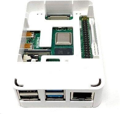 Raspberry Pi 4 Plastik Muhafaza Kutusu - Beyaz (Raspberry Pi Logolu)