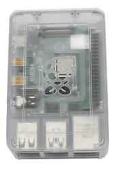 Raspberry Pi 4 Plastik Muhafaza Kutusu - Şeffaf (Raspberry Pi Logolu) - Thumbnail