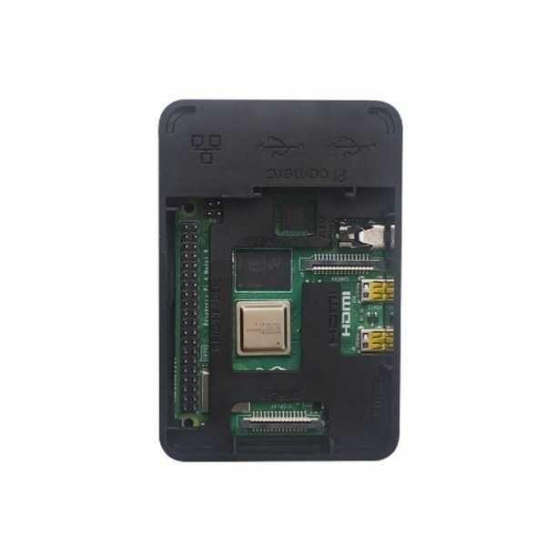 Raspberry Pi 4 Plastik Muhafaza Kutusu - Siyah (Raspberry Pi Logolu)