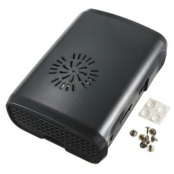 Robotistan - Raspberry Pi B+/2/3 Black, Fan Compatible Case