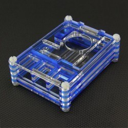 Raspberry Pi B+/2/3 Blue - Transparent Plexiglass Stratified, Fan Compatible Case - Thumbnail